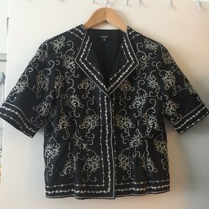 Rafaella linen summer jacket/top embroidered sz 8
